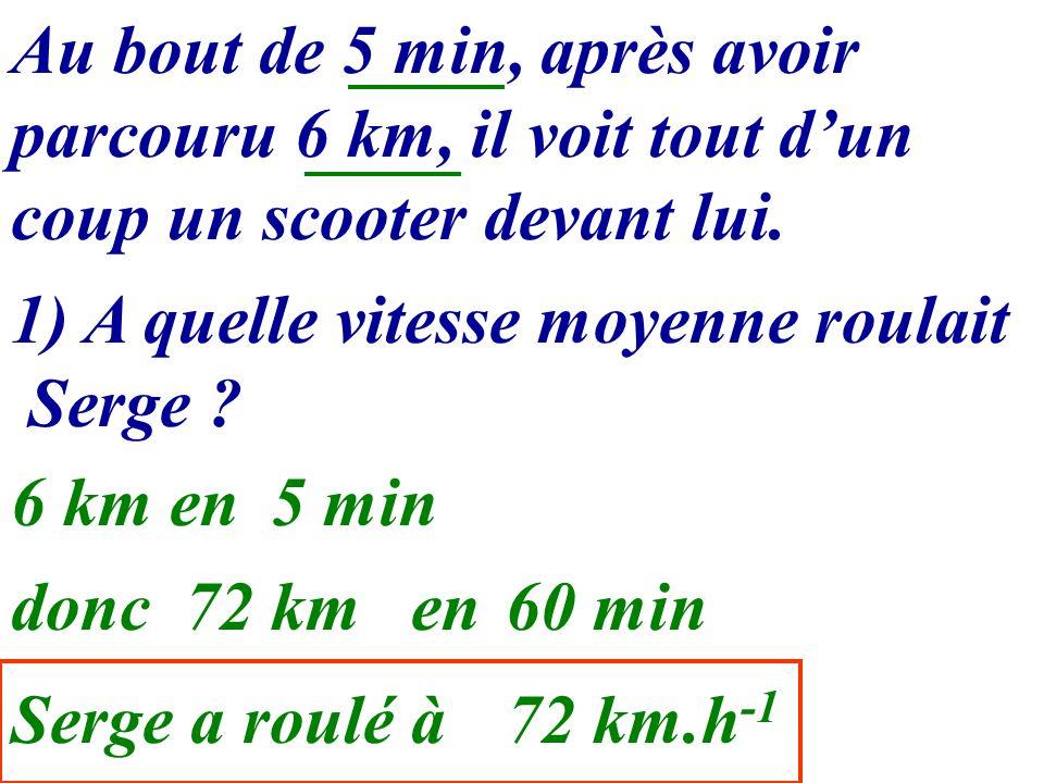 1) A quelle vitesse moyenne roulait Serge ? Au bout de 5 min, après avoir parcouru 6 km, il voit tout dun coup un scooter devant lui. 6 km en5 min don