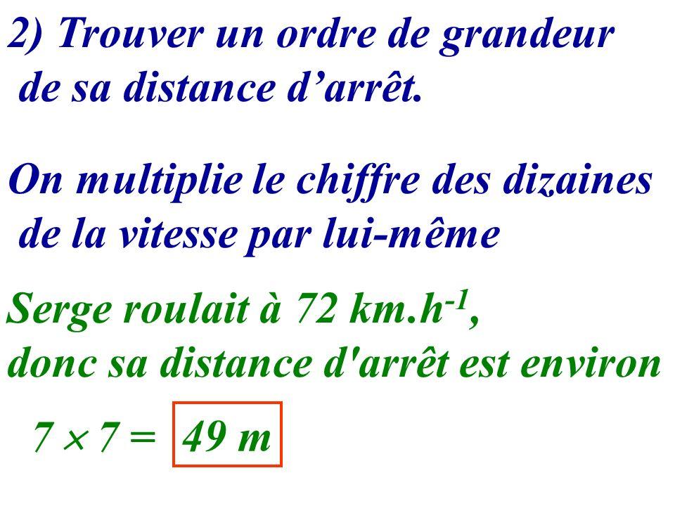 2) Trouver un ordre de grandeur de sa distance darrêt. On multiplie le chiffre des dizaines de la vitesse par lui-même Serge roulait à 72 km.h -1, don