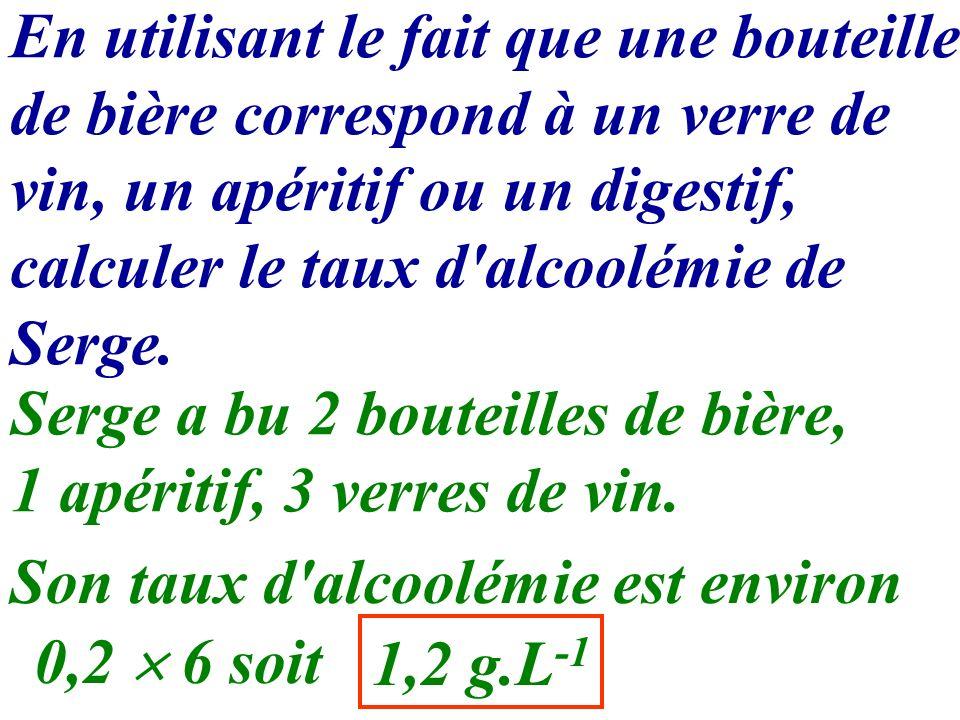 En utilisant le fait que une bouteille de bière correspond à un verre de vin, un apéritif ou un digestif, calculer le taux d'alcoolémie de Serge. Serg