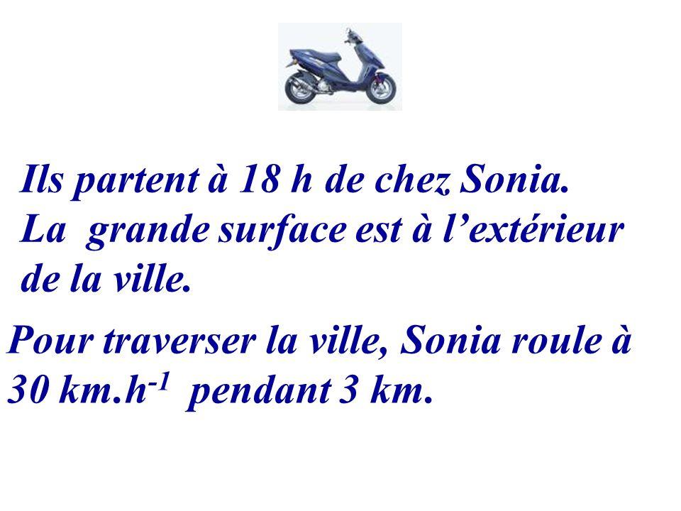 Ils partent à 18 h de chez Sonia. La grande surface est à lextérieur de la ville. Pour traverser la ville, Sonia roule à 30 km.h -1 pendant 3 km.