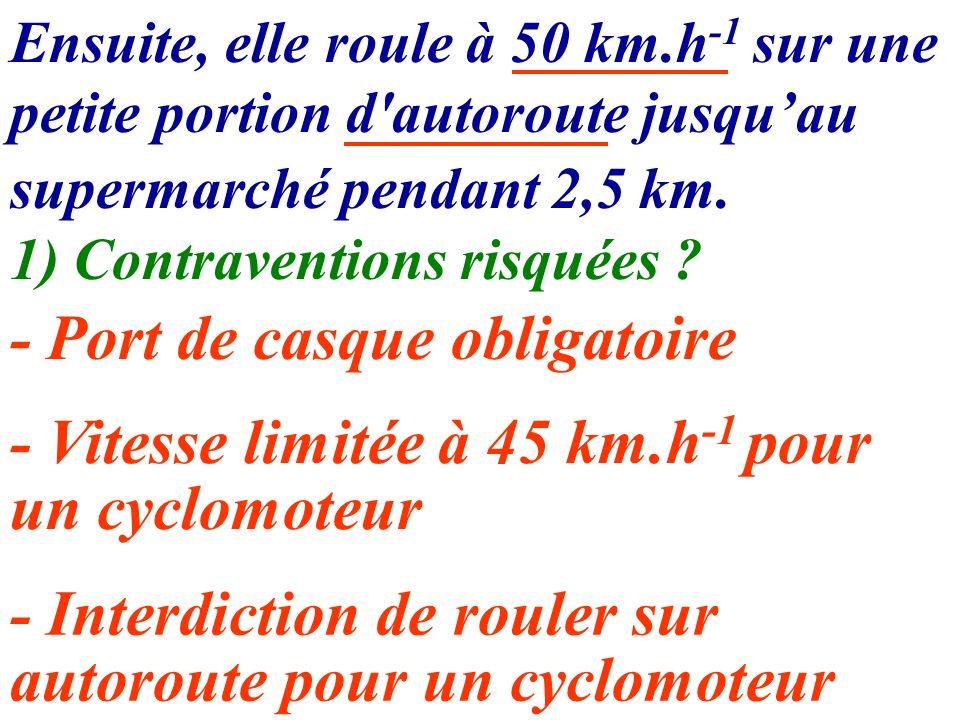 Ensuite, elle roule à 50 km.h -1 sur une petite portion d'autoroute jusquau supermarché pendant 2,5 km. 1) Contraventions risquées ? - Port de casque