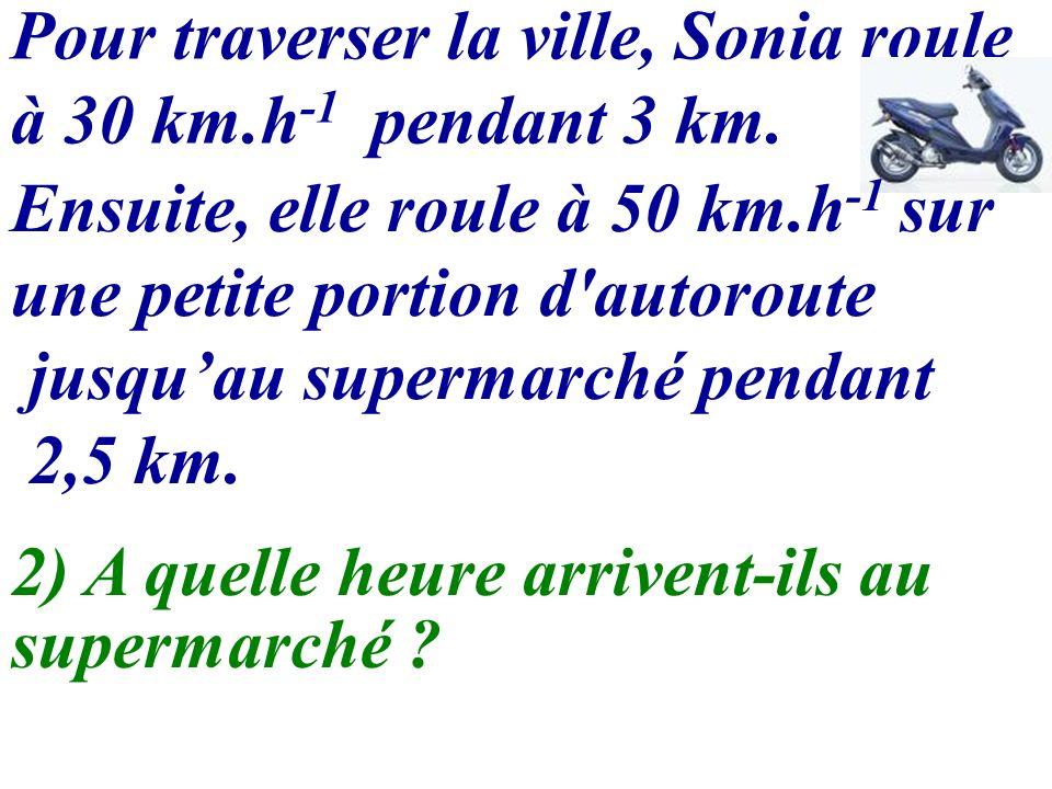 Pour traverser la ville, Sonia roule à 30 km.h -1 pendant 3 km. 2) A quelle heure arrivent-ils au supermarché ? Ensuite, elle roule à 50 km.h -1 sur u