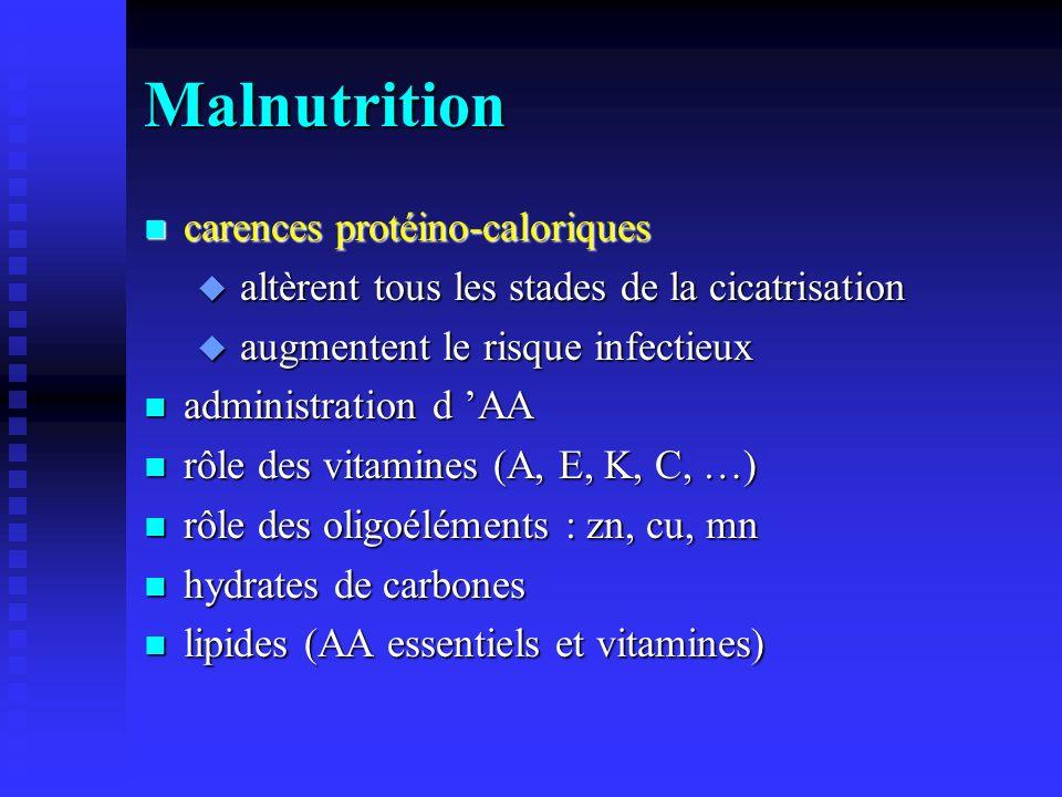 Malnutrition n carences protéino-caloriques u altèrent tous les stades de la cicatrisation u augmentent le risque infectieux n administration d AA n rôle des vitamines (A, E, K, C, …) n rôle des oligoéléments : zn, cu, mn n hydrates de carbones n lipides (AA essentiels et vitamines)