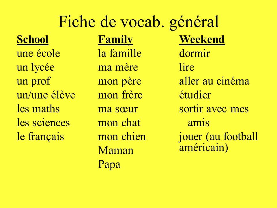 Fiche de vocab. général School une école un lycée un prof un/une élève les maths les sciences le français Family la famille ma mère mon père mon frère