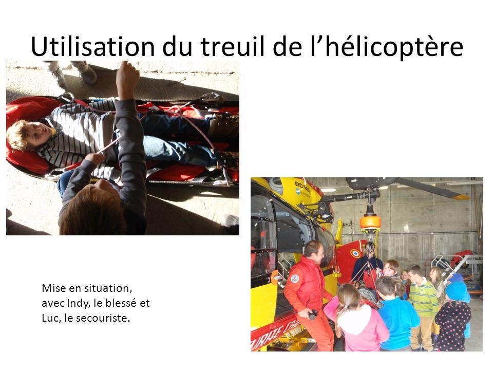 Utilisation du treuil de lhélicoptère Mise en situation, avec Indy, le blessé et Luc, le secouriste.