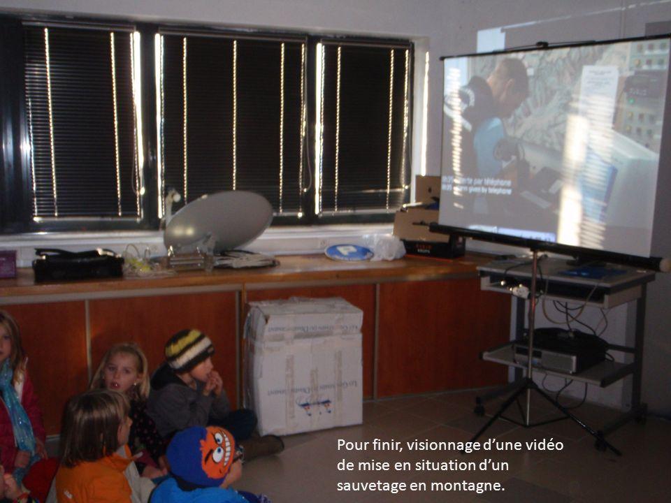 Pour finir, visionnage dune vidéo de mise en situation dun sauvetage en montagne.