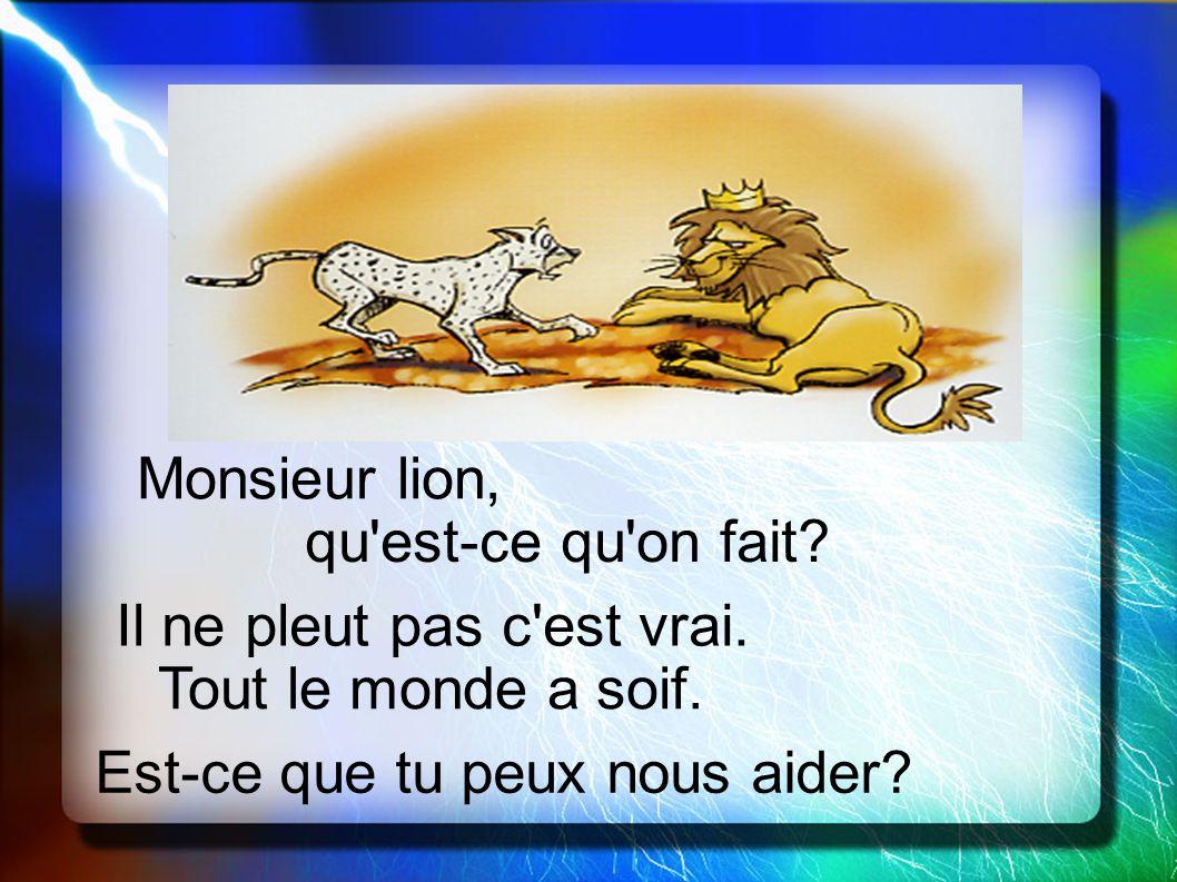 Monsieur lion, qu'est-ce qu'on fait? Il ne pleut pas c'est vrai. Tout le monde a soif. Est-ce que tu peux nous aider?