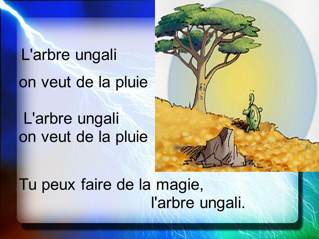 L'arbre ungali on veut de la pluie L'arbre ungali on veut de la pluie Tu peux faire de la magie, l'arbre ungali.