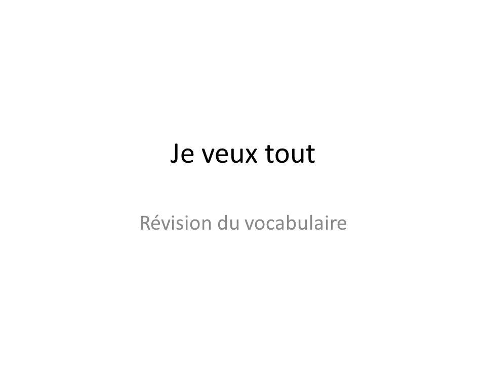 Je veux tout Révision du vocabulaire
