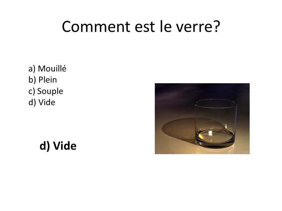 Comment est le verre a) Mouillé b) Plein c) Souple d) Vide d) Vide