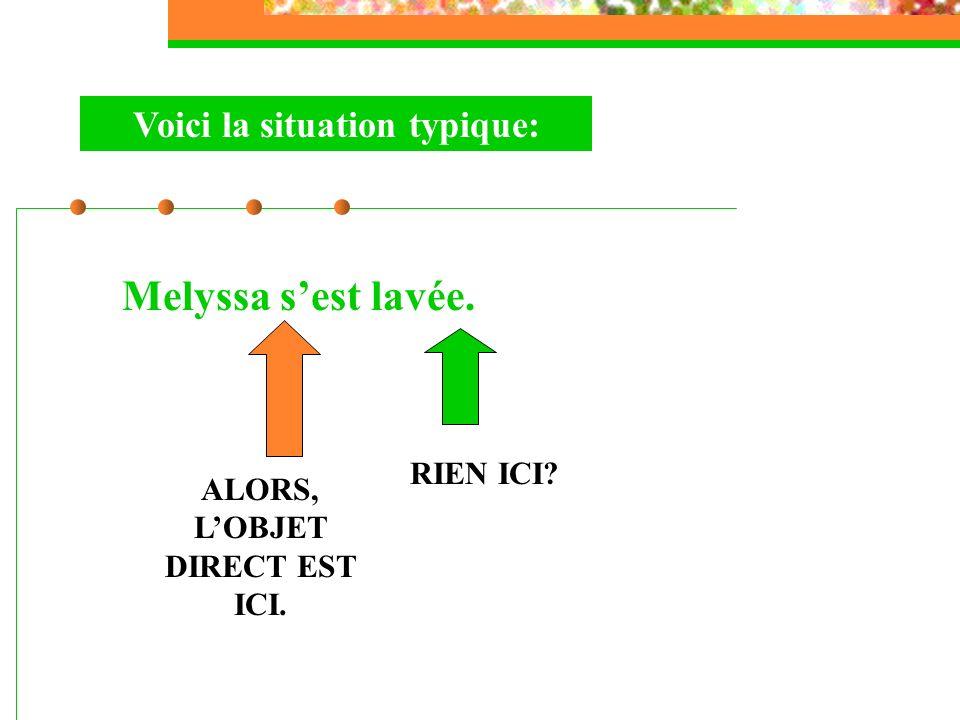 Voici la situation typique: Melyssa sest lavée. RIEN ICI? ALORS, LOBJET DIRECT EST ICI.