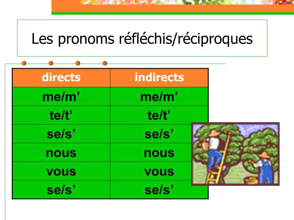 Les pronoms réfléchis/réciproques directsindirects me/m te/t se/s nous vous se/s