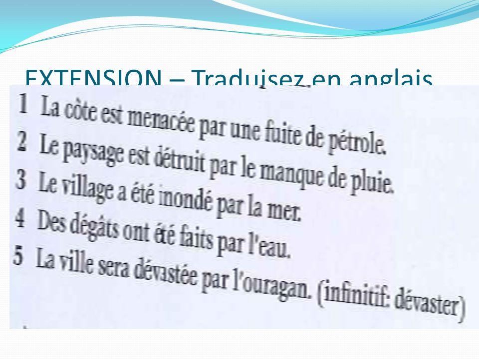 EXTENSION – Traduisez en anglais