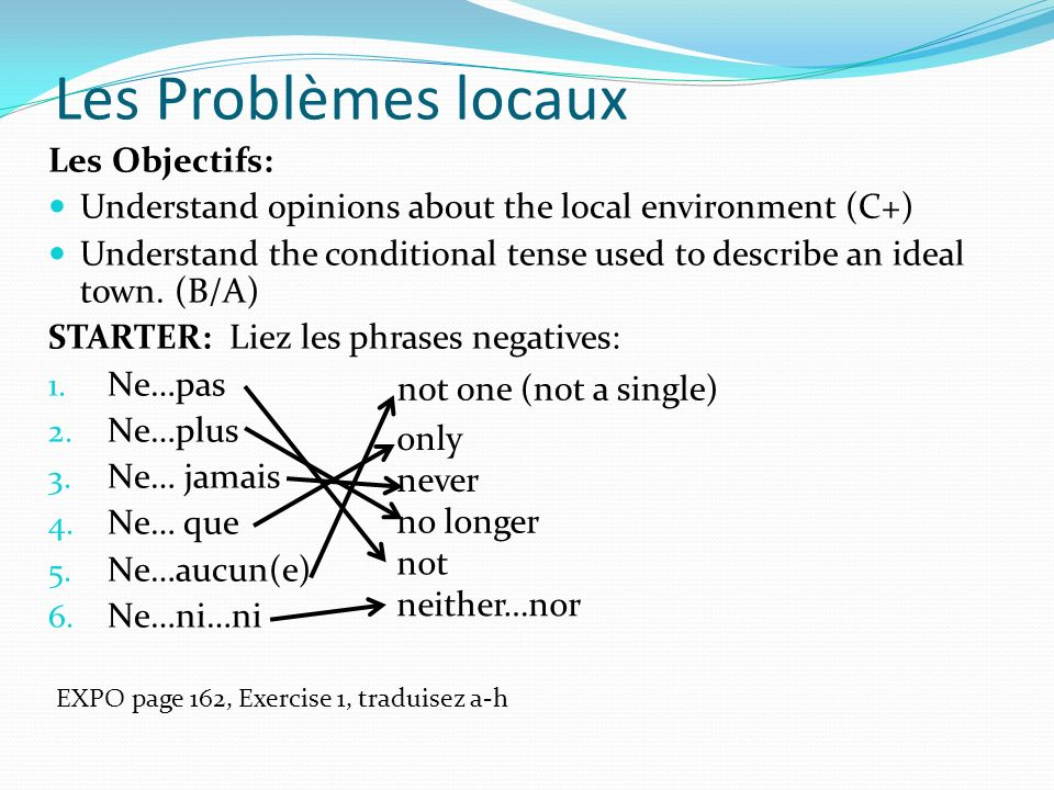 Les Problèmes locaux Les Objectifs: Understand opinions about the local environment (C+) Understand the conditional tense used to describe an ideal to