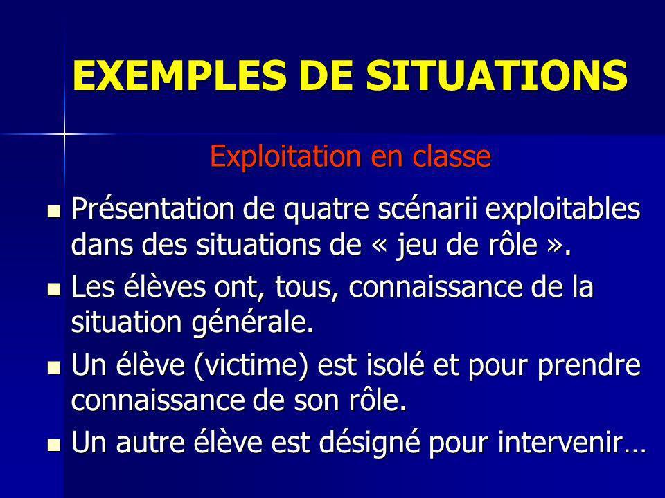 EXEMPLES DE SITUATIONS Présentation de quatre scénarii exploitables dans des situations de « jeu de rôle ». Présentation de quatre scénarii exploitabl