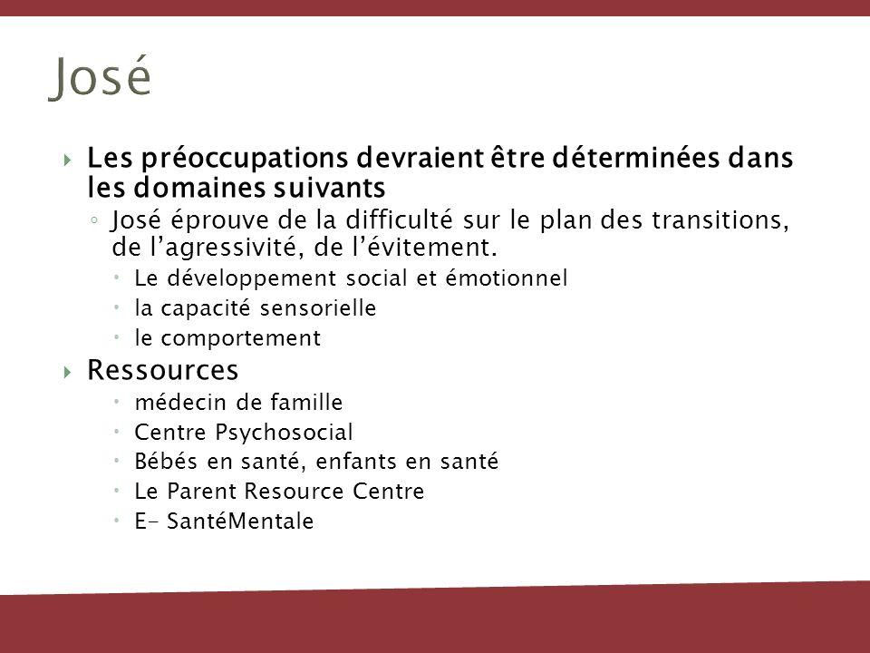 José Les préoccupations devraient être déterminées dans les domaines suivants José éprouve de la difficulté sur le plan des transitions, de lagressivi
