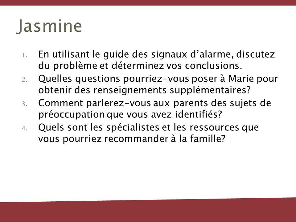 Jasmine 1. En utilisant le guide des signaux dalarme, discutez du problème et déterminez vos conclusions. 2. Quelles questions pourriez-vous poser à M