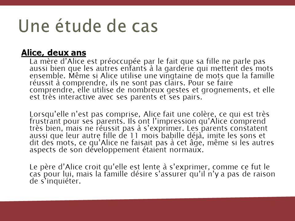 Jasmine Les préoccupations devraient être déterminées dans les domaines suivants : La parole et le langage laudition la vision l autisme Ressources: Le Centre de traitement pour enfants d Ottawa (CTEO) Santé publique Ottawa Recommandation immédiate dune évaluation dimpact sur la santé et dune visite chez le médecin.