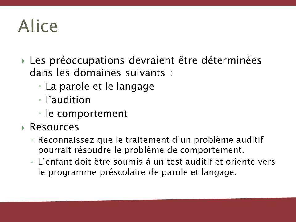 Alice Les préoccupations devraient être déterminées dans les domaines suivants : La parole et le langage laudition le comportement Resources Reconnais