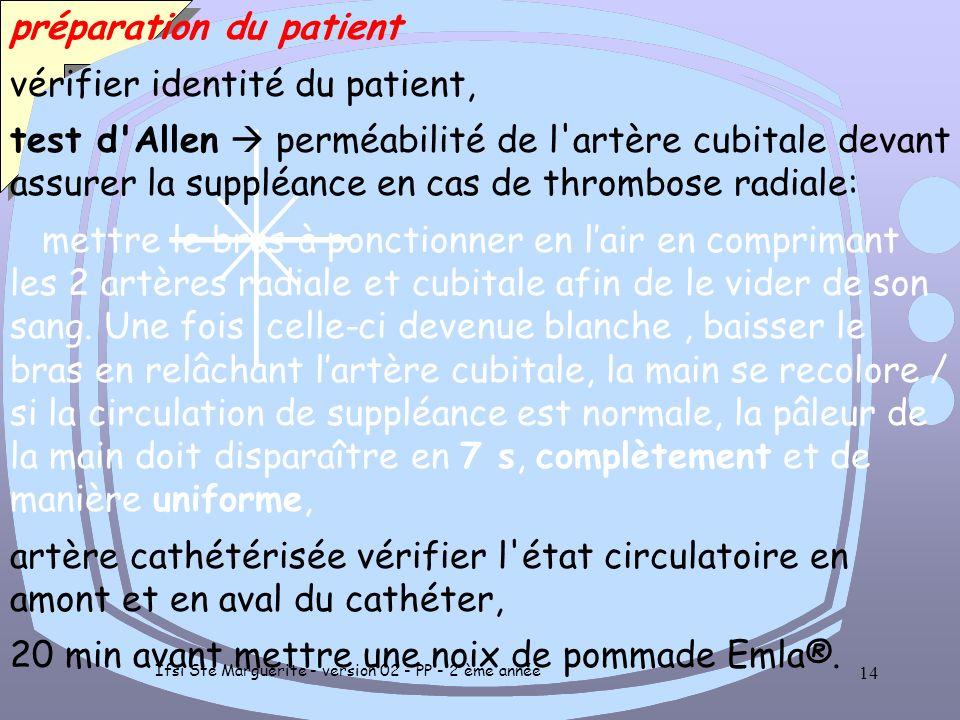 Ifsi Ste Marguerite - version 02 - PP - 2 ème année 13 PREPARATION du matériel et du patient En l'absence de seringue spécifique utiliser seringue sté