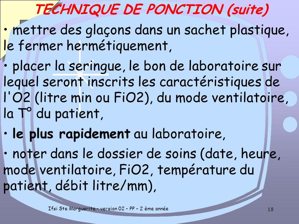 Ifsi Ste Marguerite - version 02 - PP - 2 ème année 17 TECHNIQUE DE PONCTION (suite) quantité nécessaire 1 à 3 ml, après retrait de l'aiguille comprim