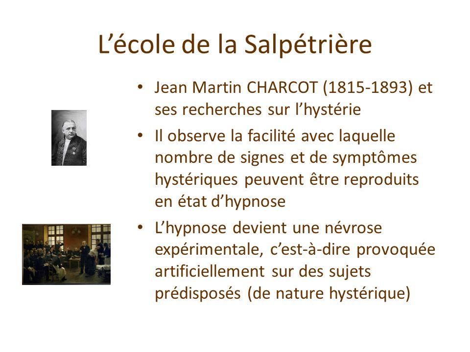 Lécole de la Salpétrière Jean Martin CHARCOT (1815-1893) et ses recherches sur lhystérie Il observe la facilité avec laquelle nombre de signes et de s