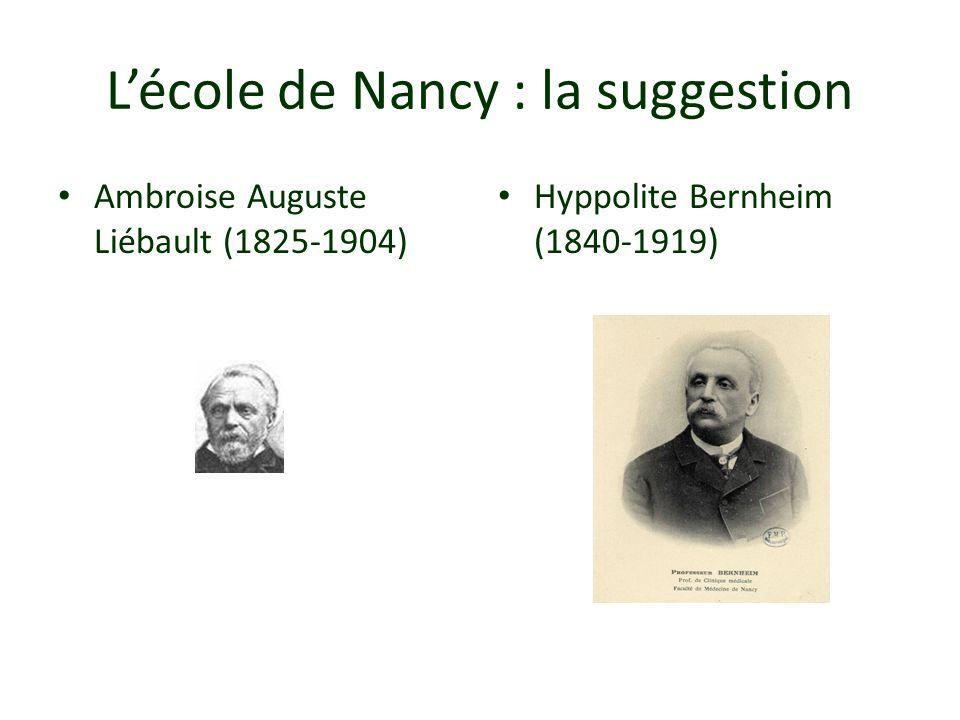 Lécole de Nancy : la suggestion Ambroise Auguste Liébault (1825-1904) Hyppolite Bernheim (1840-1919)