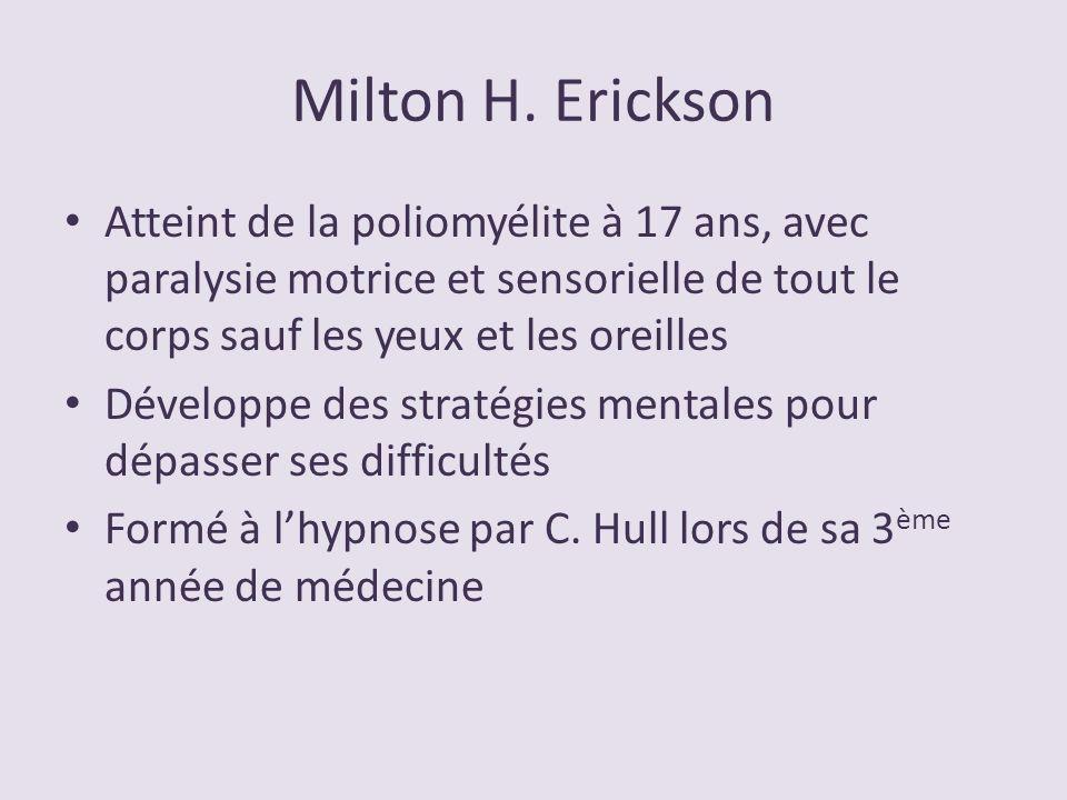 Milton H. Erickson Atteint de la poliomyélite à 17 ans, avec paralysie motrice et sensorielle de tout le corps sauf les yeux et les oreilles Développe
