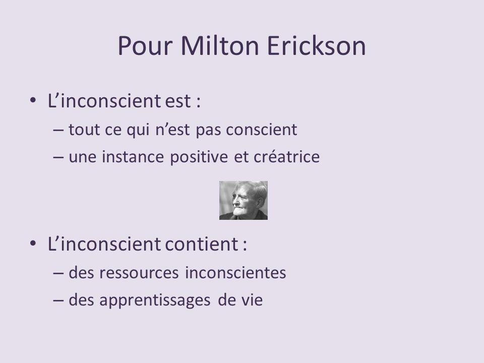 Pour Milton Erickson Linconscient est : – tout ce qui nest pas conscient – une instance positive et créatrice Linconscient contient : – des ressources