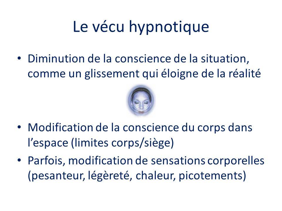 Le vécu hypnotique Diminution de la conscience de la situation, comme un glissement qui éloigne de la réalité Modification de la conscience du corps d