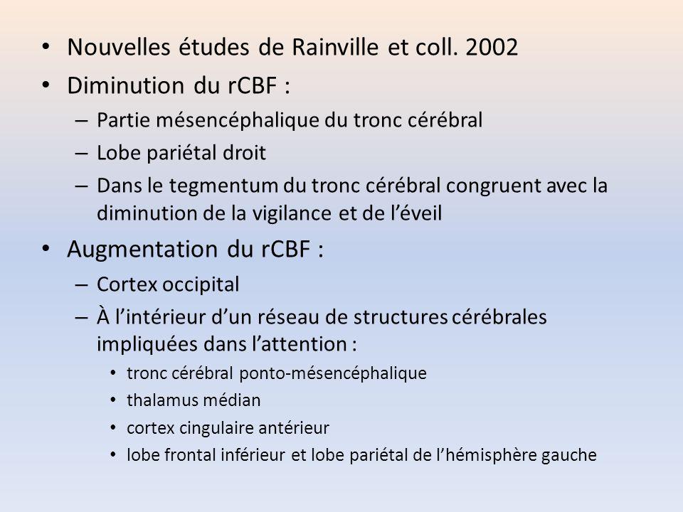 Nouvelles études de Rainville et coll. 2002 Diminution du rCBF : – Partie mésencéphalique du tronc cérébral – Lobe pariétal droit – Dans le tegmentum