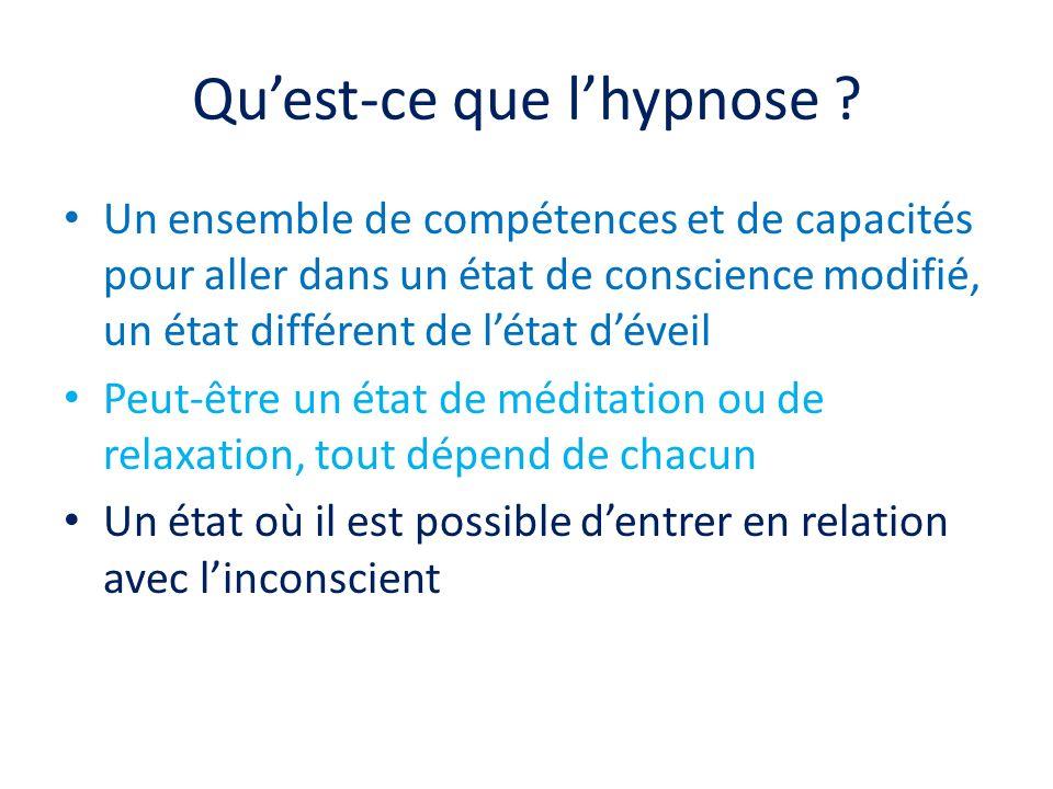 Quest-ce que lhypnose ? Un ensemble de compétences et de capacités pour aller dans un état de conscience modifié, un état différent de létat déveil Pe