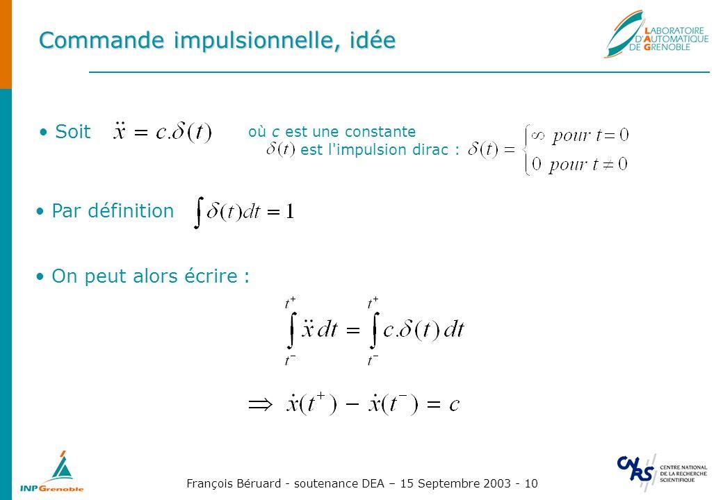 François Béruard - soutenance DEA – 15 Septembre 2003 - 10 Commande impulsionnelle, idée Soit où c est une constante est l'impulsion dirac : On peut a