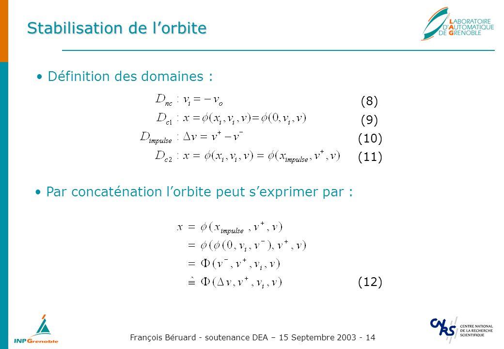 François Béruard - soutenance DEA – 15 Septembre 2003 - 14 Stabilisation de lorbite Définition des domaines : (8) (9) (10) (11) Par concaténation lorb