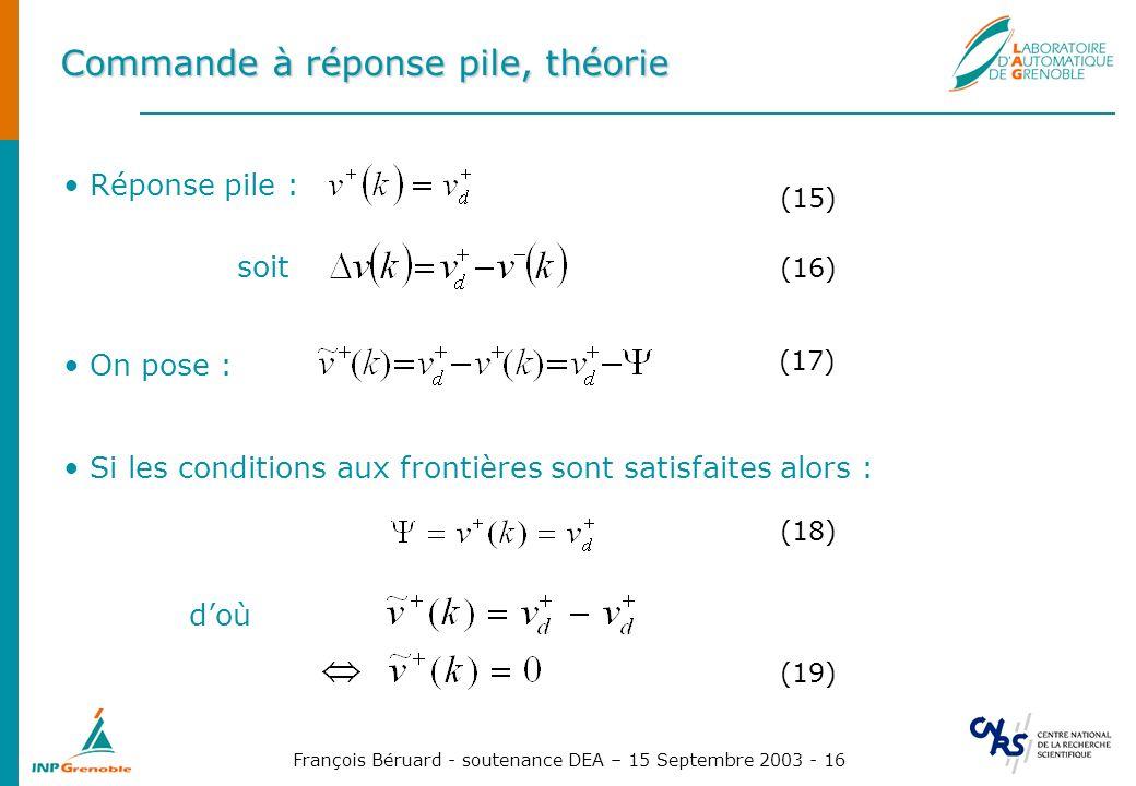 François Béruard - soutenance DEA – 15 Septembre 2003 - 16 Commande à réponse pile, théorie Réponse pile : (15) Si les conditions aux frontières sont