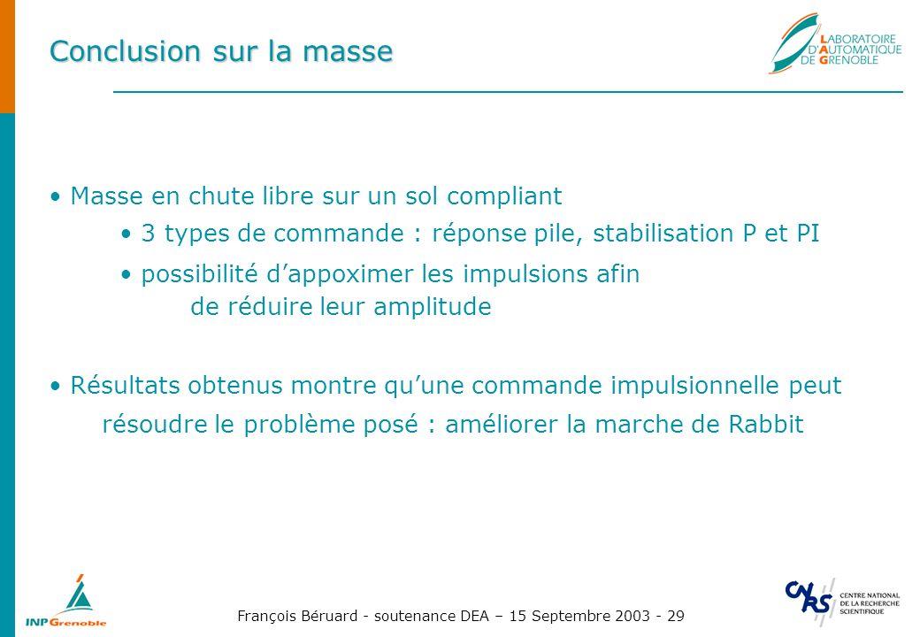 François Béruard - soutenance DEA – 15 Septembre 2003 - 29 Conclusion sur la masse Masse en chute libre sur un sol compliant 3 types de commande : rép
