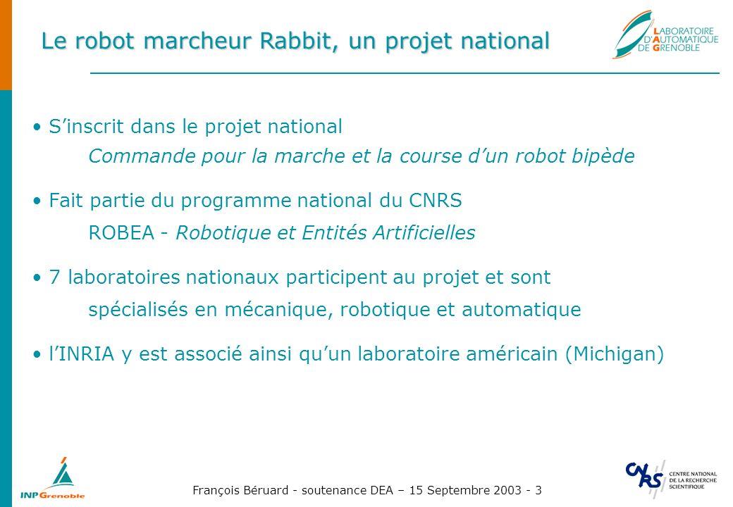 François Béruard - soutenance DEA – 15 Septembre 2003 - 3 Le robot marcheur Rabbit, un projet national Sinscrit dans le projet national Commande pour