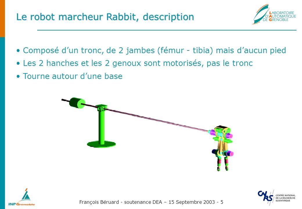 François Béruard - soutenance DEA – 15 Septembre 2003 - 5 Le robot marcheur Rabbit, description Composé dun tronc, de 2 jambes (fémur - tibia) mais da