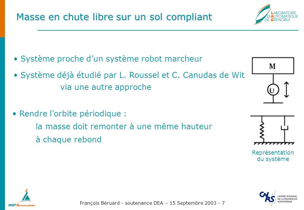 François Béruard - soutenance DEA – 15 Septembre 2003 - 8 Masse en chute libre sur un sol compliant Modèle ressort-amortisseur non linéaire.