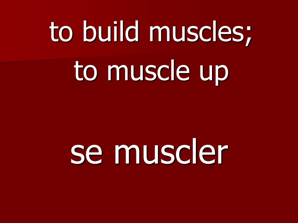 se muscler to build muscles; to muscle up