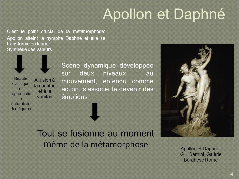 Apollon et Daphné Cest le point crucial de la métamorphose: Apollon atteint la nymphe Daphné et elle se transforme en laurier Synthèse des valeurs 4 B