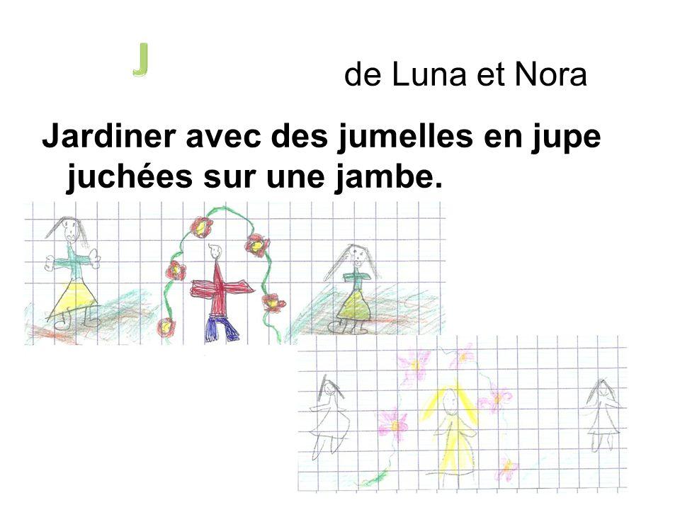 de Luna et Nora Jardiner avec des jumelles en jupe juchées sur une jambe.