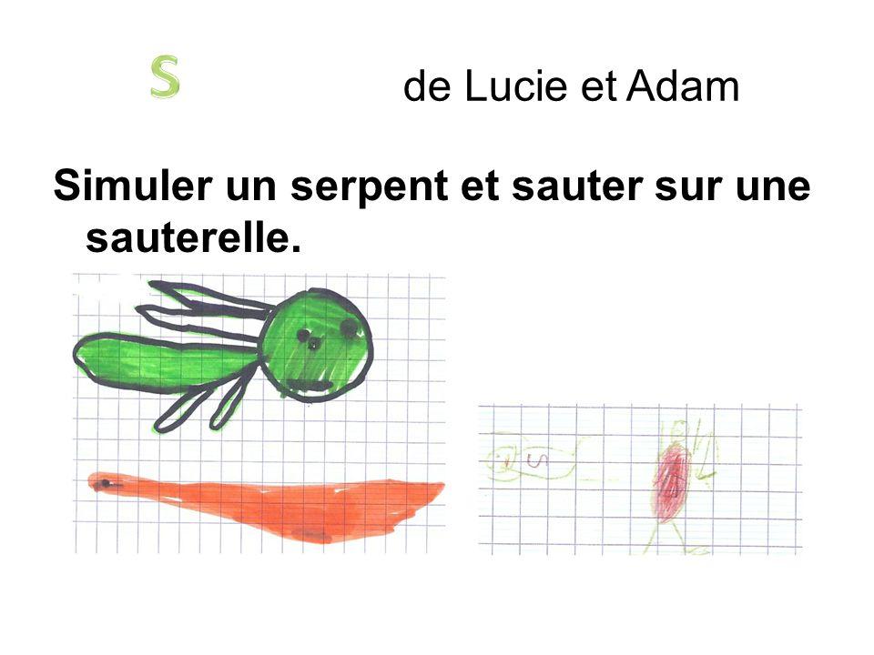 Simuler un serpent et sauter sur une sauterelle. de Lucie et Adam