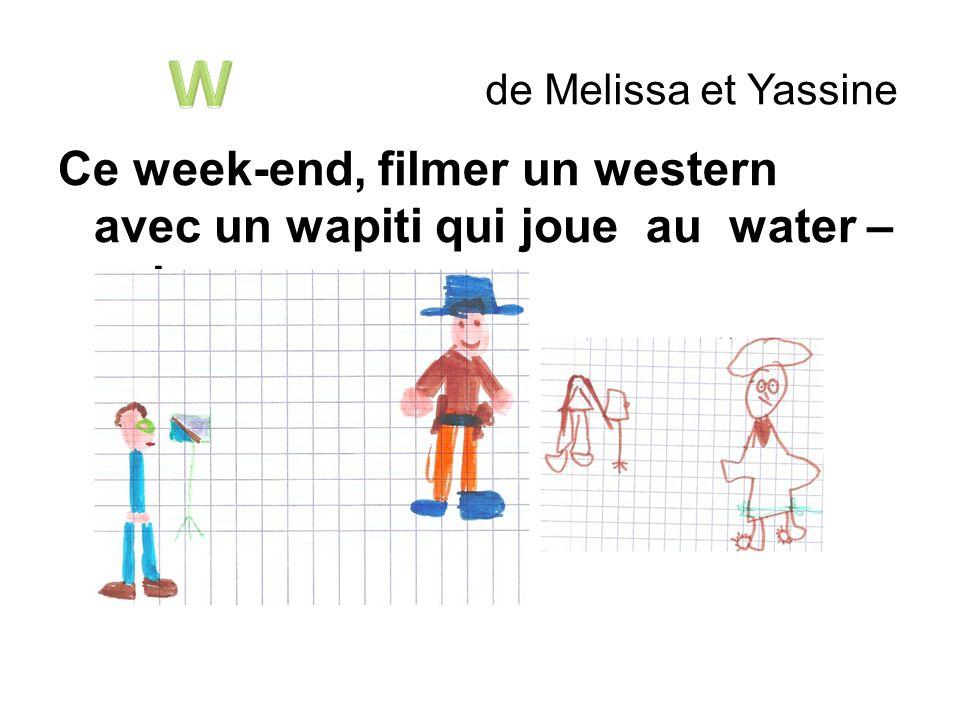 de Melissa et Yassine Ce week-end, filmer un western avec un wapiti qui joue au water – polo.