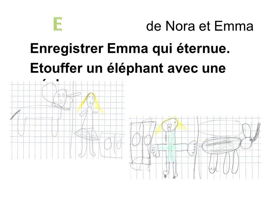 de Nora et Emma Enregistrer Emma qui éternue. Etouffer un éléphant avec une écharpe.