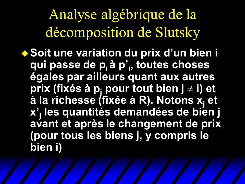Analyse algébrique de la décomposition de Slutsky u Soit une variation du prix dun bien i qui passe de p i à p i, toutes choses égales par ailleurs quant aux autres prix (fixés à p j pour tout bien j i) et à la richesse (fixée à R).