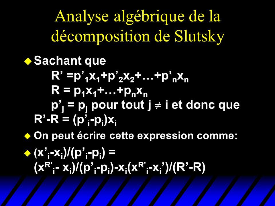 Analyse algébrique de la décomposition de Slutsky u Sachant que R =p 1 x 1 +p 2 x 2 +…+p n x n R = p 1 x 1 +…+p n x n p j = p j pour tout j i et donc que R-R = (p i -p i )x i u On peut écrire cette expression comme: u ( x i -x i )/(p i -p i ) = (x R i - x i )/(p i -p i )-x i (x R i -x i )/(R-R)
