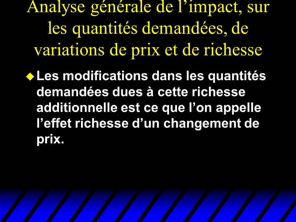 Analyse générale de limpact, sur les quantités demandées, de variations de prix et de richesse u Les modifications dans les quantités demandées dues à cette richesse additionnelle est ce que lon appelle leffet richesse dun changement de prix.