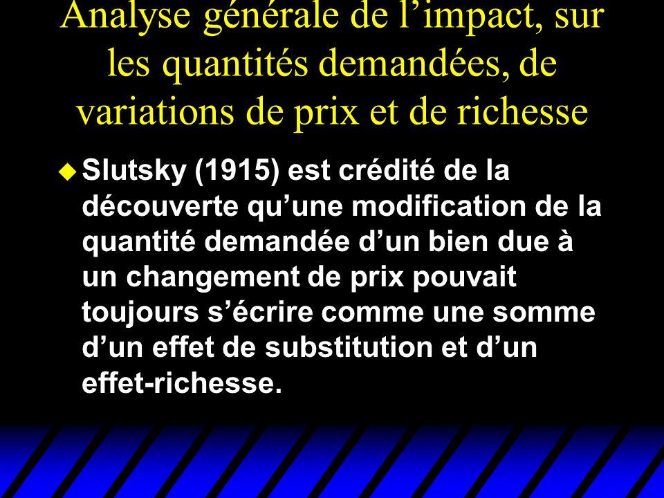 Effet Slutsky pour un bien de Giffen x2x2 x1x1 x 2 x 1 Une baisse de p 1 entraîne une baisse de la quantité Demandée de bien 1.