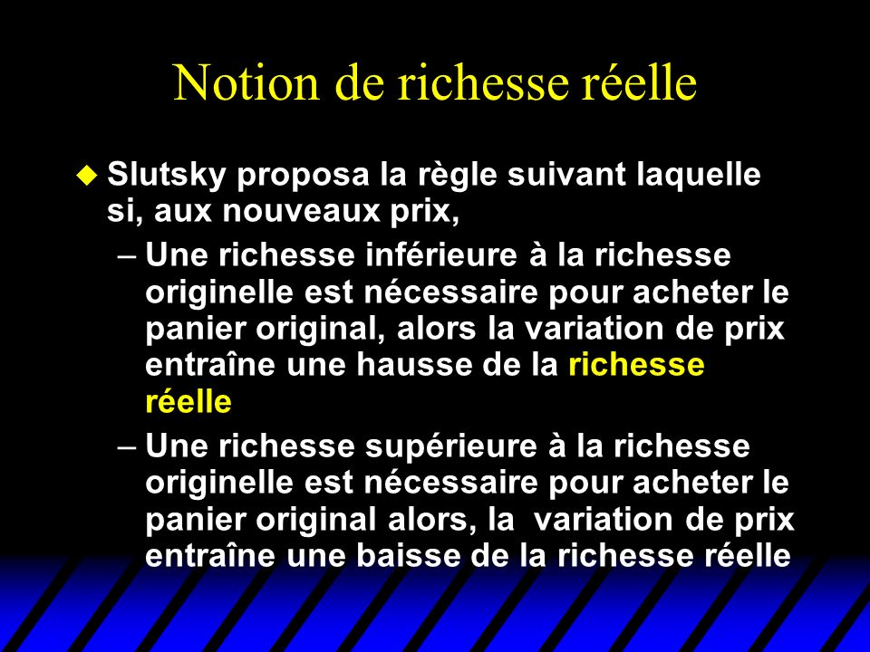 Changement de richesse réelle x1x1 x2x2 Ensemble de budget originel et choix